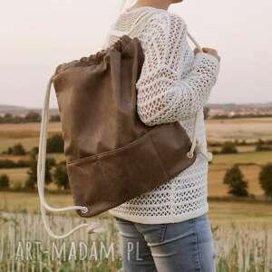hand-made plecak taupe troczek