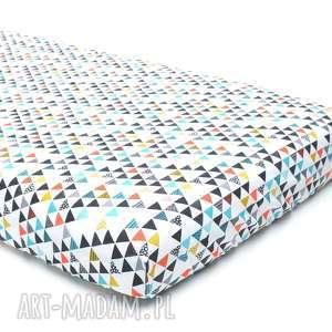 PRZEŚCIERADŁO 60x120 kolorowe trójkaty, prześcieradło, bawełna
