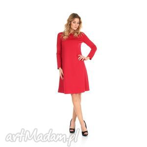 2-sukienka rozkloszowana czerwona,długa, lalu, sukienka, dzianina,