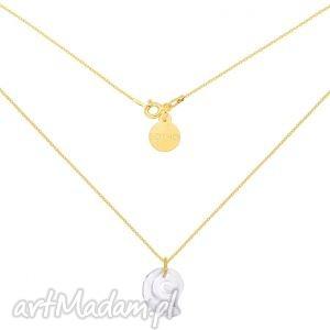 złoty naszyjnik z kryształową muszelką swarovski crystal, muszelka, krzyształ