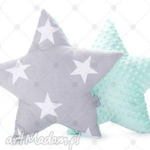 gwiazda - szare gwiazdy na mięcie, poduszka