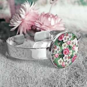 Prezent Elegancka bransoletka posrebrzana z kwiatkami w szkle, szklana, kaboszon