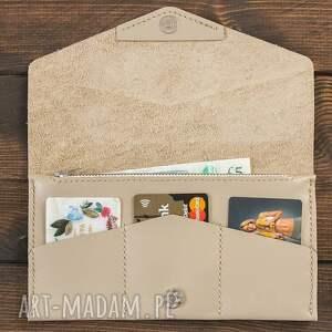 kopertówka kremowa - portfel, portfelik, kopertówka, skóra, skórzana