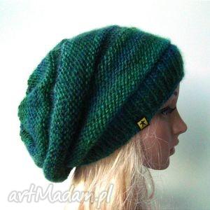 czapka w zieleniach - czapka, czapeczka, ciepła, lekka, cieniowana, pachnąca