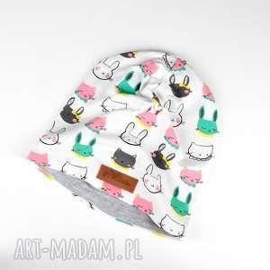 Prezent Czapka króliki kolorowa beanie prezent, czapka, beanie,