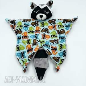 maskotki przytulanka szop dla niemowląt, kocyk, gryzak, sensoryczna, minky