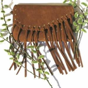tenaro torebka bransoletka zamszowa z frędzlami brązowa, torebka, rękodzieło