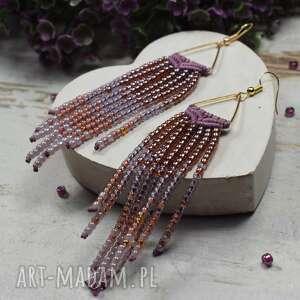 długie kolczyki z koralików w stylu boho - indiańskie odcieniach wrzosu, fioletów