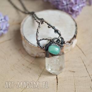 naszyjnik z kryształem górskim w surowej formie, miedzi, biżuteria