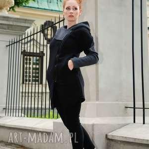 bluza damska czarna asymetryczna Ragini long, płaszcz, bluza, asymetryczna, na-zamek