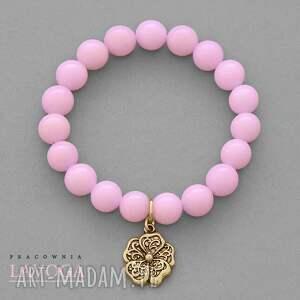 lavoga jade with pendant in candy pink - złote bransoletki, zawieszka