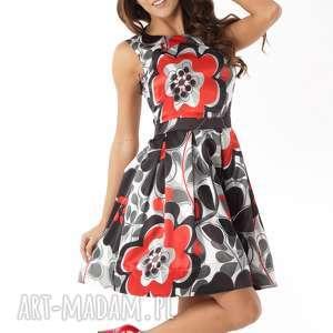 Sukienka kontrafałda czerwono-czarne wzory, elegancka-sukienka, polski-producent