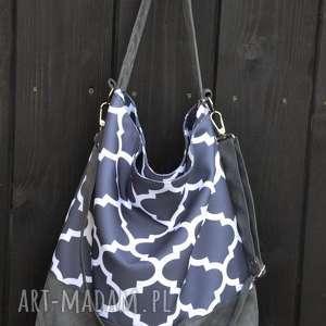 na ramię torba hobo xxl - print, marokańska koniczyna, hobo, worek