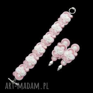 komplet ślubny nilino rose soutache, zestaw, kolczyki, bransoletka, sutasz,