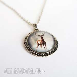hand made naszyjniki medalion, naszyjnik - jeleń 2 duży