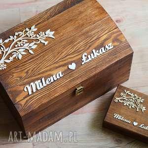 Zestaw pudełek z gałązkami, pudełko, eko, obrączki, drewno, rustykalne, mech