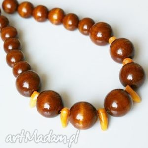 naszyjnik koral pomarańczowy i drewno, naszyjnik, koral, kulki, drewniane, linka