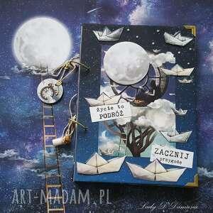 notes/pamiętnik/statki na niebie, notes, księżyc, gwiazdy, buteleczka, statki