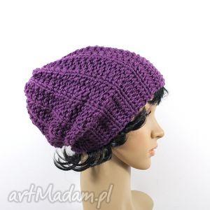 czapka wrzosowa zima, dziergana głowa uszy, unisex