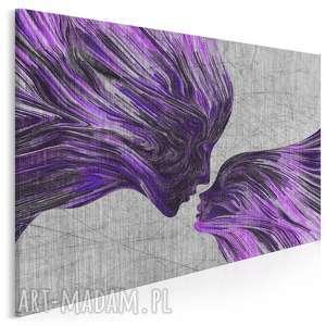 obraz na płótnie - twarze pocałunek fiolet 120x80 cm 13506