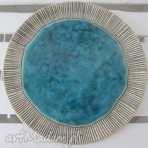 turkusowa patera na coś smacznego, patera, ceramiczna, dekoracyjny, talerz,
