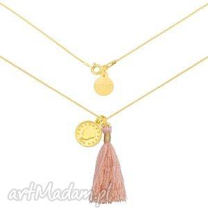 sotho złoty naszyjnik z pastelowym łososiowym chwostem i arabska monetą