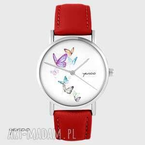 Zegarek - motyle czerwony, skórzany zegarki yenoo zegarek