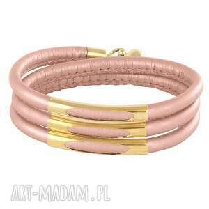 bracelet in powder pink gold , rzemień, rurka, magnes