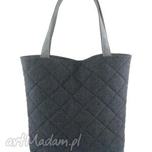 Quilted dark gray - ,torebka,shopper,pikowana,grafitowa,