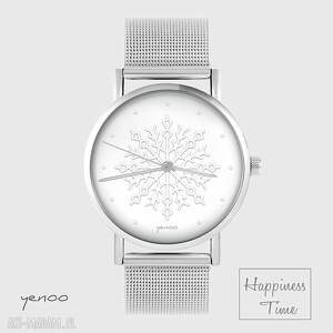 handmade zegarki zegarek, bransoletka - płatek śniegu - metalowy