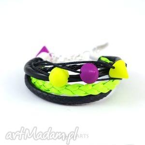 bransoletka - kolce neonowa, rzemienie, nity, bransoletka