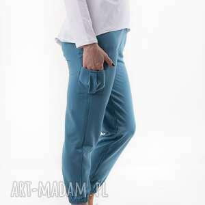 handmade spodnie bojówki blue total stick