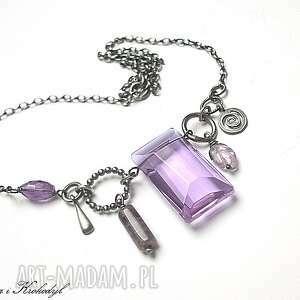fioletowa sztabka - naszyjnik, srebro, ametysty, szkło naszyjniki