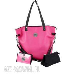 hand-made podróżne zestaw fuksja black (torba worek xl, portfel, kosmetyczka)