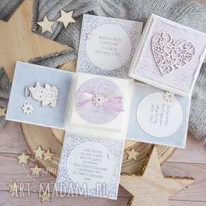 ręczne wykonanie scrapbooking kartki urocze eksplodujące pudełeczko z aniołkiem - okazji