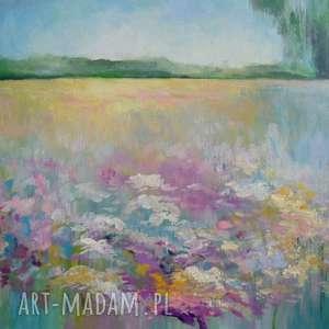 obraz na płótnie - łąka format 40/30 cm, łąka, kwiaty, surrealizm, fiolet, żółty