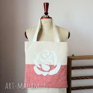 torba na zakupy - róża bordo z kremem, torba, zakupy, róża, romantyczna