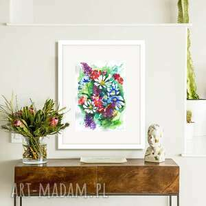 akwarela kwiaty, akwarela, obraz akwarelowy, kwiaty polne, wzór