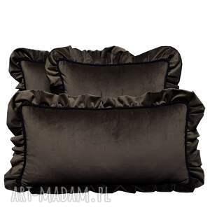 ręcznie zrobione poduszki dekoracyjne komplet 3 welur brąz