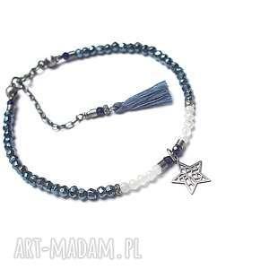 Aqua vol. 4 - bransoletka , srebro-oksydowane, szafir, kamień-księżycowy, piryt