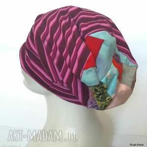 ręcznie zrobione czapki czapka damska sportowa w paski kolorowa wiosenna - box