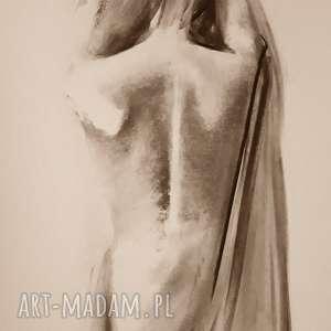 dom woman 50x70, grafika kobieta, czarno biała grafika, obraz rysunek