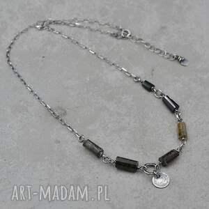 naszyjniki turmalin krótki srebrny naszyjnik 158, srebro, turmalin