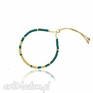 handmade bransoletka minimal - bootle green and gold