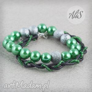 Zielone perełki - ,perły,gumka,rzemień,wyjątkowa,zielona,