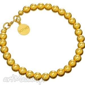 handmade złota bransoletka z zapięciem złote kulki koraliki srebro pozłacane