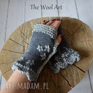 the wool art rękawiczki mitenki, rękawiczki, wełniane, szydełkowe, dodatki
