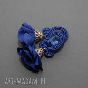klipsy sutasz z kwiatkiem, sznurek, eleganckie, wiszące, kobaltowe, małe, kwiat