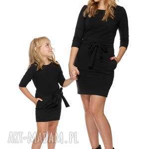 mama i córka sukienka dla córki ld6/1, sukienka, dresowa, zpaskiem, kieszenie