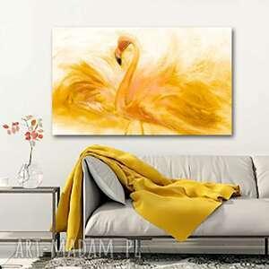 obraz do sypialni flaming akwarela złoty 100 x60, flaming, zwierzęta, grafika